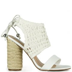 White knitted high heel sandal