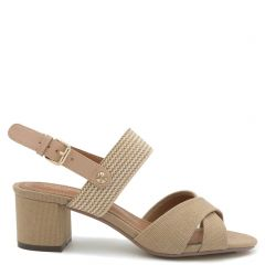 Taupe sandal with cross straps
