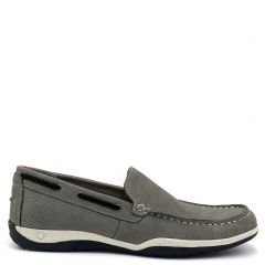 Men's grey leather boat shoe