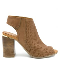 Tobacco leather peep-toe bootie