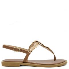 Tobacco flat sandal with metal decoration