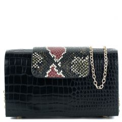 Black croco textured clutch
