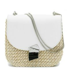 Straw bag with white flap