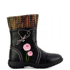 Kid's black bootie with embroidery