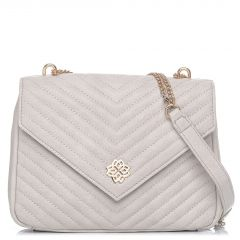 Ecru quilted shoulder bag