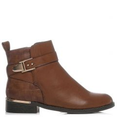 Tobacco low cut bootie with straps