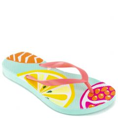 Kid's flip-flop with turquoise thong and insole print