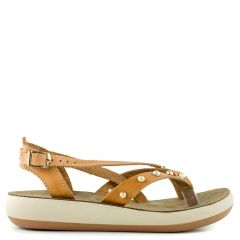 Camel leather flatform with straps