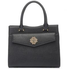 Black handbag with metal buckle