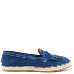 Dark blue leather espadrille