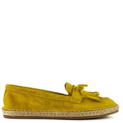Yellow leather espadrille