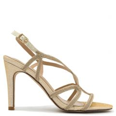 Pink gold metallic high heel sandal