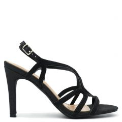 Black metallic high heel sandal