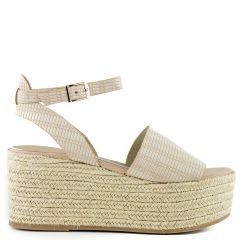 Beige leather platform
