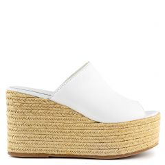 White leather platform with band