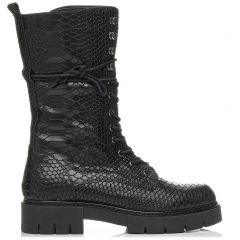 Black leather croco army boot