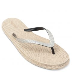 Pewter flip-flop with glitter