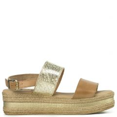 Gold leather flatform