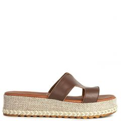 Brown leather flatform