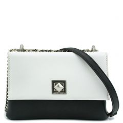 Black white bag with flap