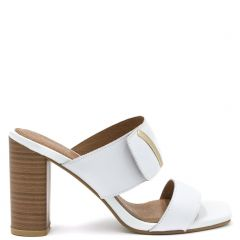 White leather mule