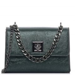 Green metallic shoulder bag
