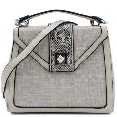 White linen handbag