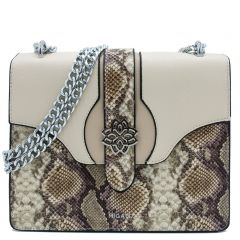 Beige snakeskin shoulder bag
