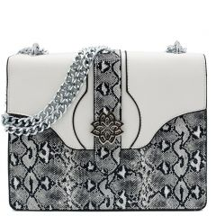 Black white snakeskin bag
