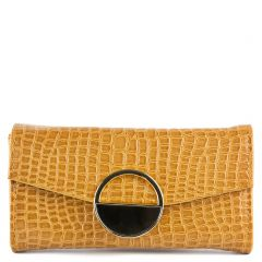 Mustard yellow croc wallet