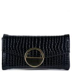 Μαύρο κροκό πορτοφόλι