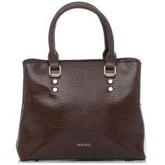 Καφέ τσάντα με υφή lizard
