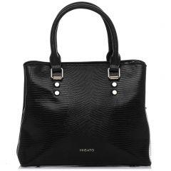Μαύρη τσάντα με υφή lizard