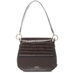 Brown croco textured crossbody