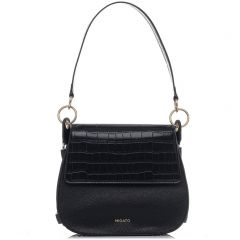 Black croco textured crossbody