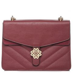 Burgundy quilted shoulder bag