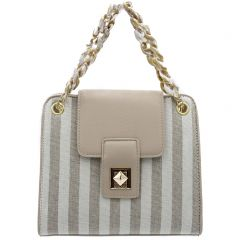 Beige striped linen bag
