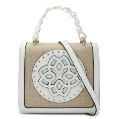 White handbag with flap