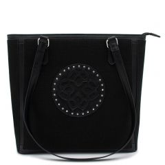 Black linen textured shoulder bag