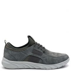 Men's grey leather suede sneaker