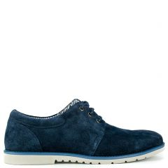 Ανδρικό μπλε καστόρινο παπούτσι. Δένει με κορδόνια.