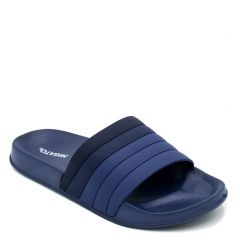 Men's navy slides with embossed stripes on band