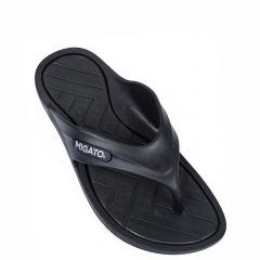 Men's black beach slipper with thong