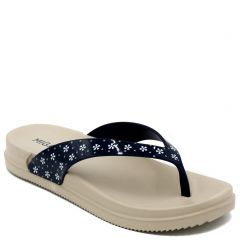 Women's navy flip-flop with flower print on thong