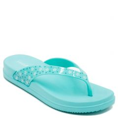 Women's turquoise flip-flop with flower print on thong