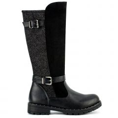 Kid's black boot with buckles