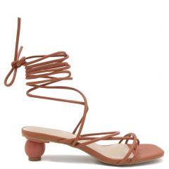 Orange lace up sandal
