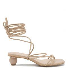 Beige lace up sandal