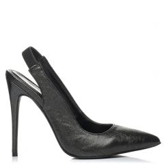 Black metallic slingback pump