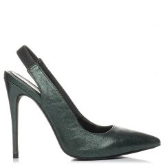 Green metallic slingback pump